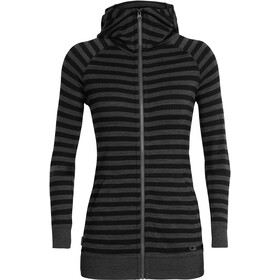 Icebreaker Crush LS Zip Hood Damen jet heather/black/stripe